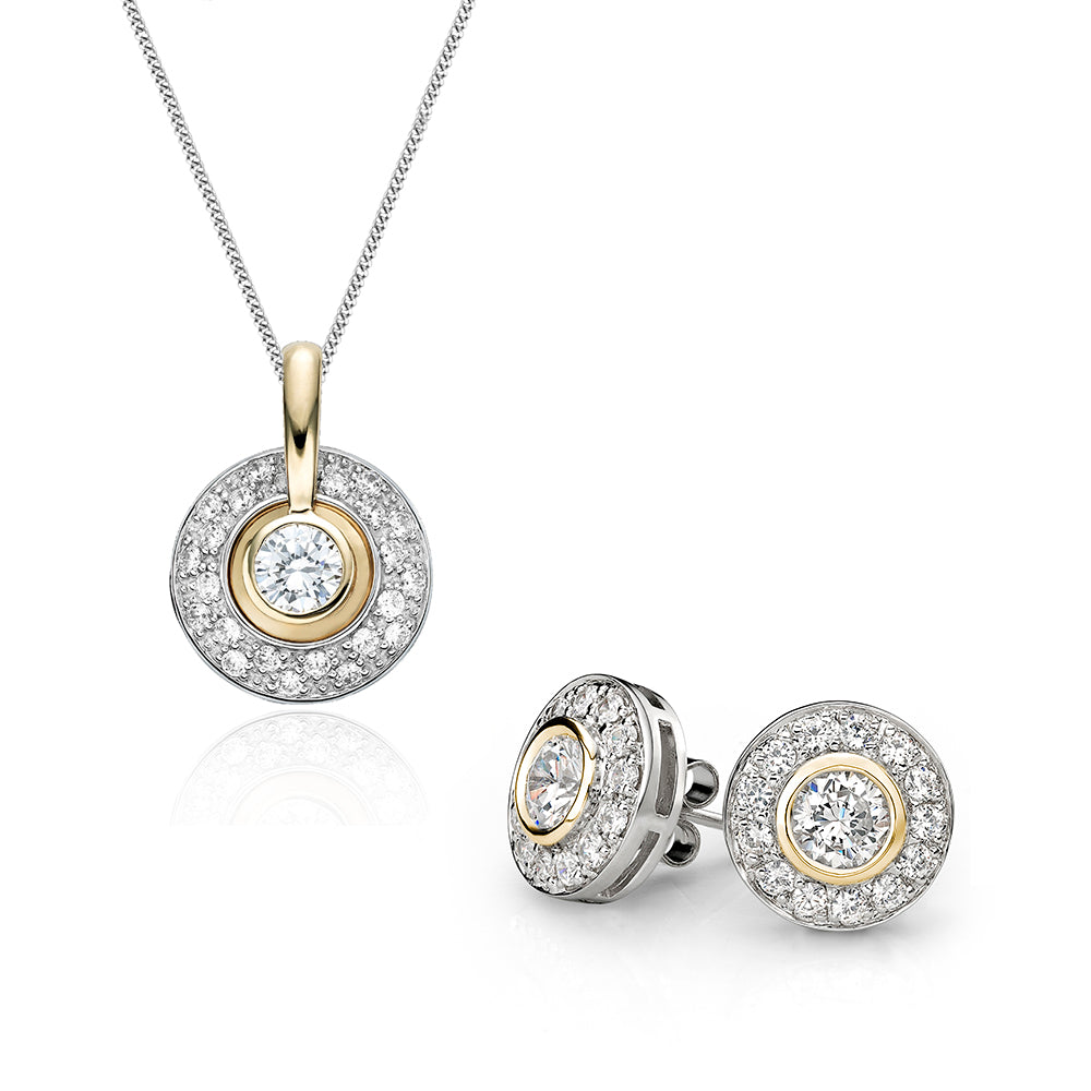 Synergy Pave and Bezel Circle Gift Set in Sterling Silver w/ Yellow Gold