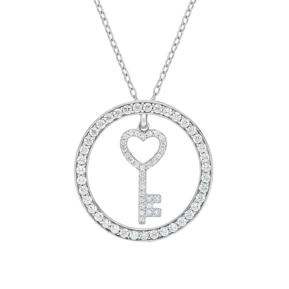 Circle Key Pendant Gift Set in White Gold