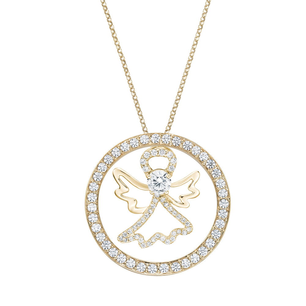 Angel Circle of Life Pendant Gift Set in Yellow Gold