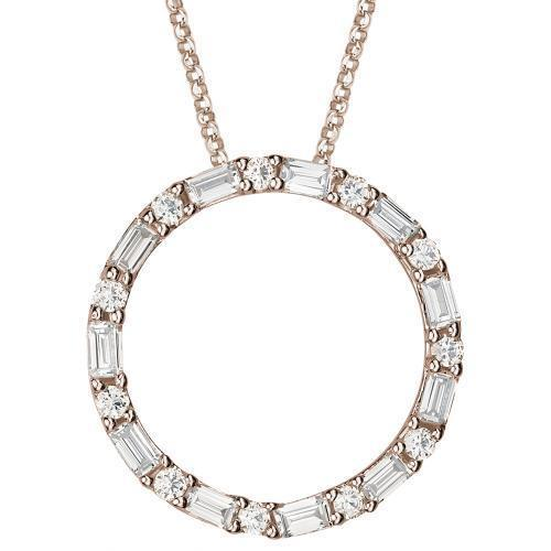 Round and Baguette Cut Circle Pendant in Rose Gold