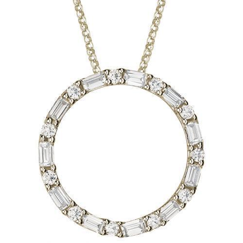 Round and Baguette Cut Circle Pendant in Yellow Gold