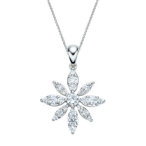 Flower Pendant in White Gold
