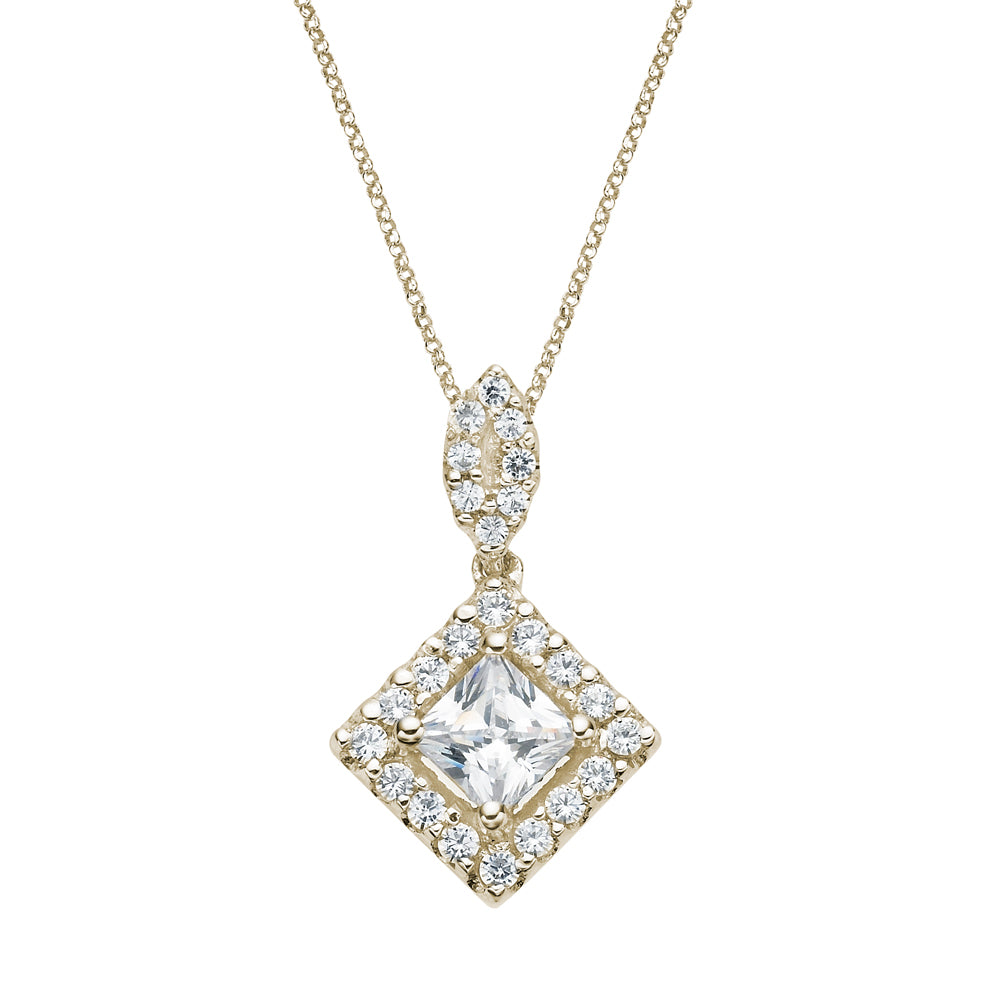 Contemporary Princess Cut Pendant in Yellow Gold