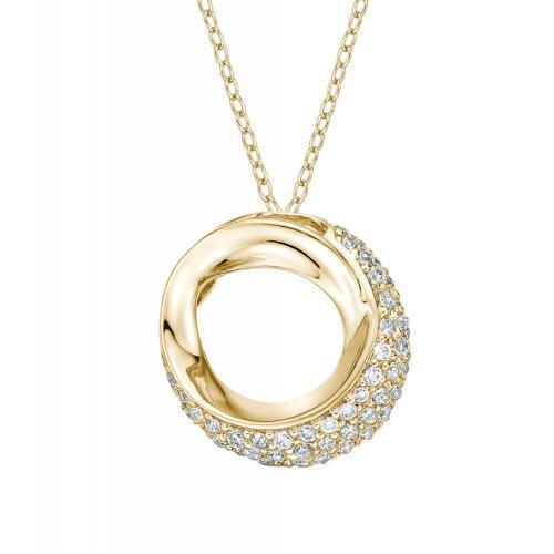 Half Pave Set Circle Pendant in Yellow Gold
