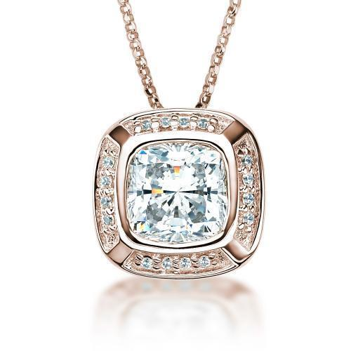 Cushion Cut and Round Brilliant Pendant in Rose Gold