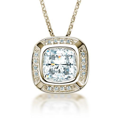 Cushion Cut and Round Brilliant Pendant in Yellow Gold