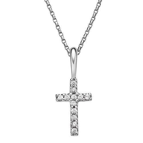 Christening Cross Pendant in White Gold
