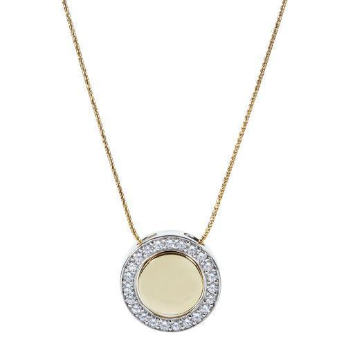 Synergy Sterling Silver & Yellow Gold Circle of Life Disc Pendant Set in Sterling Silver w/ Yellow Gold