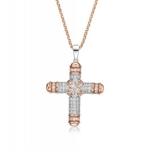 Synergy Sterling Silver with Rose Gold Round Brilliant Cross Pendant in Sterling Silver w/ Rose Gold