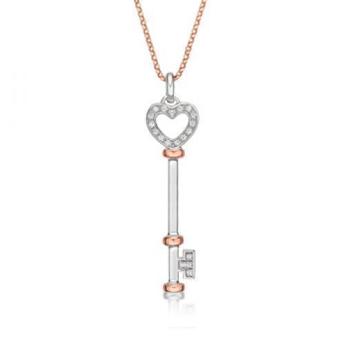 Synergy Heart Key Pendant in Sterling Silver w/ Rose Gold