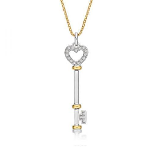 Synergy Heart Key Pendant in Sterling Silver w/ Yellow Gold