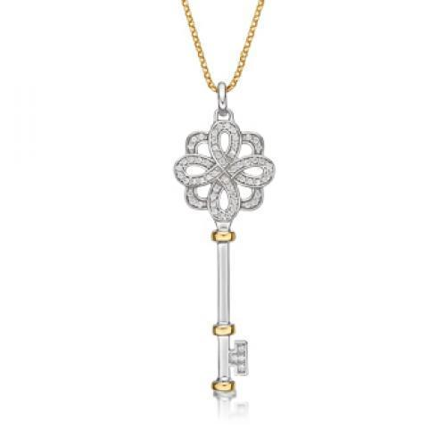 Synergy Grain Set Round Brilliant Key Pendant in Sterling Silver w/ Yellow Gold