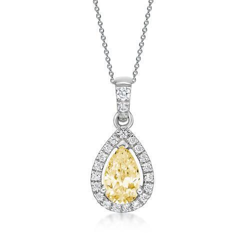 Pear Cut Halo Pendant - Yellow Colour in White Gold