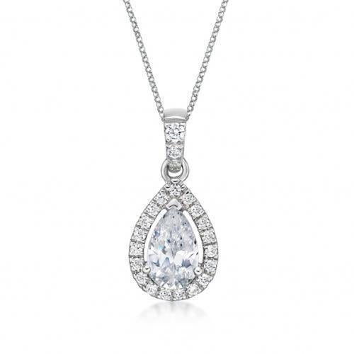 Pear Cut Halo Pendant in White Gold