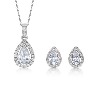 Pear Cut Halo Gift Set in White Gold