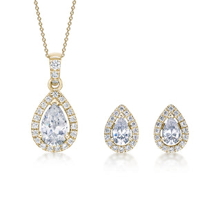 Pear Cut Halo Gift Set in Yellow Gold