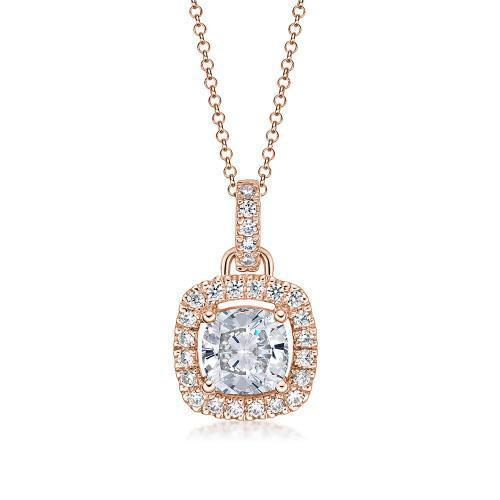 Cushion Cut Halo Pendant in Rose Gold