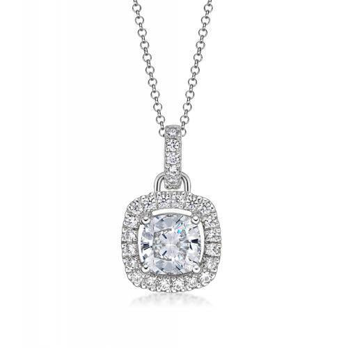 Cushion Cut Halo Pendant in White Gold