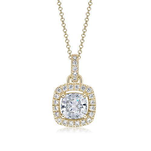 Cushion Cut Halo Pendant in Yellow Gold