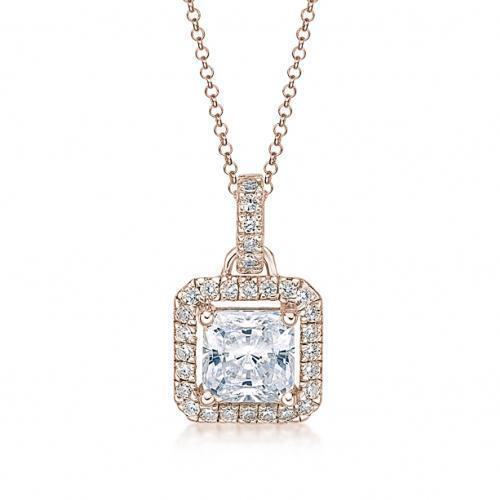 Princess Cut Halo Pendant in Rose Gold