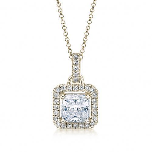 Princess Cut Halo Pendant in Yellow Gold