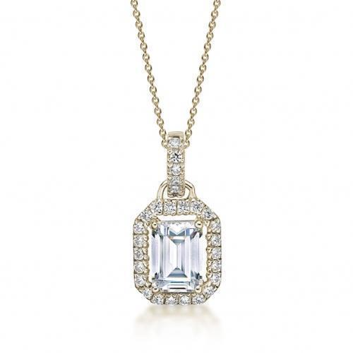 Emerald Cut Halo Pendant in Yellow Gold