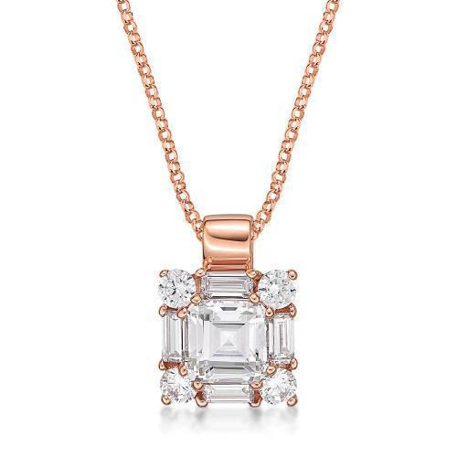 Princess Step Cut Claw Set Pendant in Rose Gold