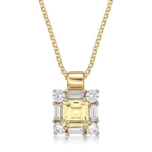 Princess Step Cut Claw Set Pendant - Yellow Colour in Yellow Gold