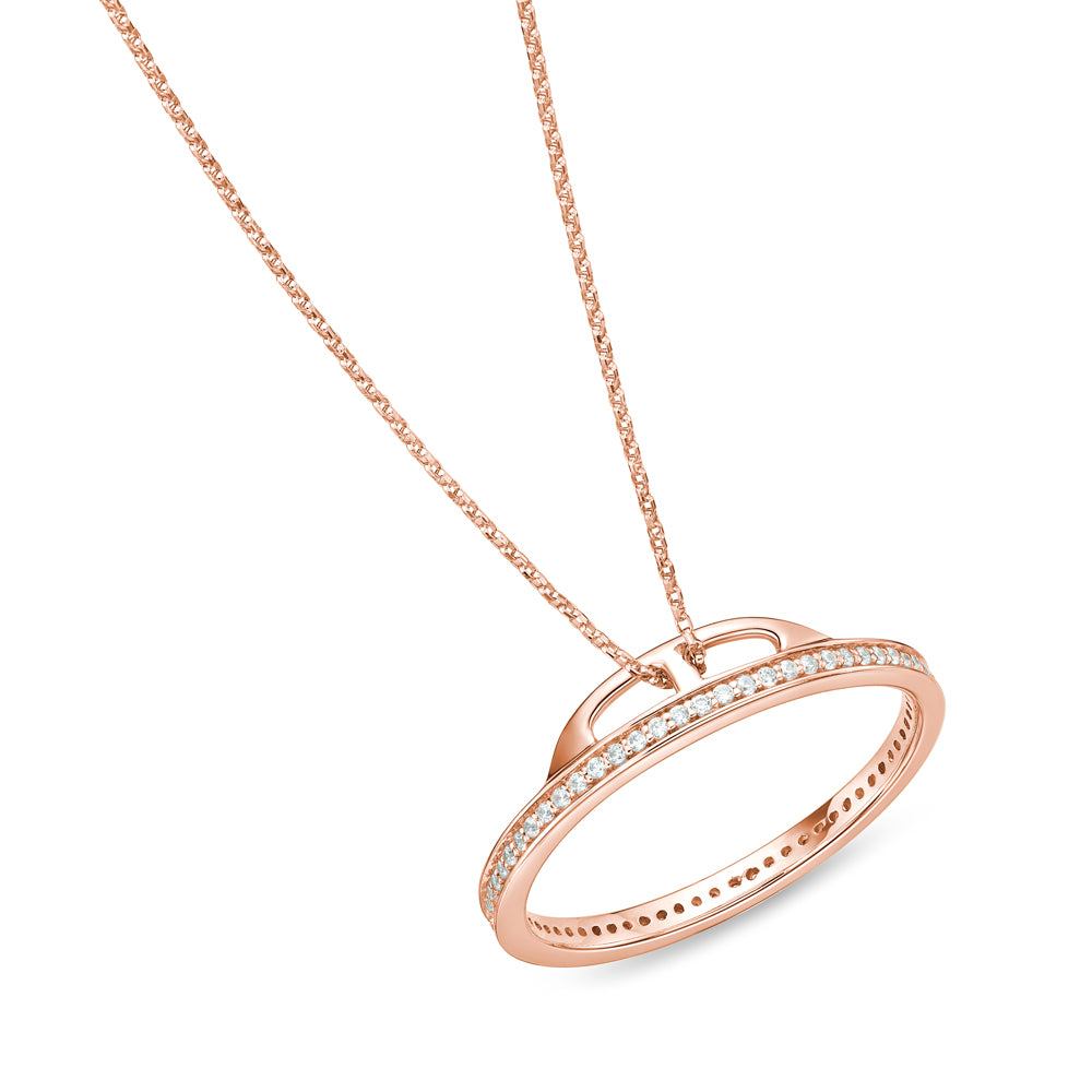 Circle of Life Unique Edge Set Pendant in Rose Gold