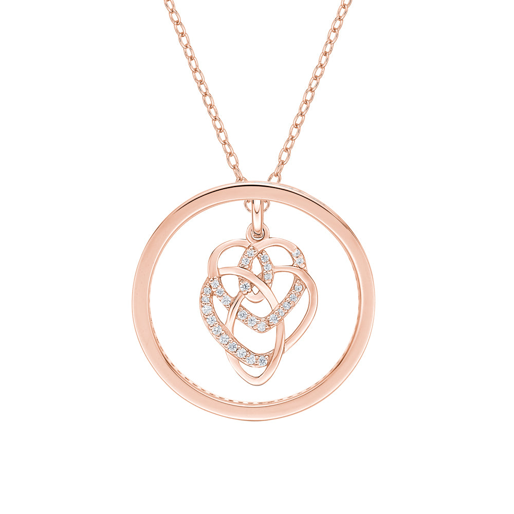 Circle Mother & Child Pendant Gift Set in Rose Gold