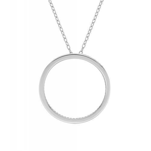 Circle of Life Unique Edge Set Pendant in Sterling Silver