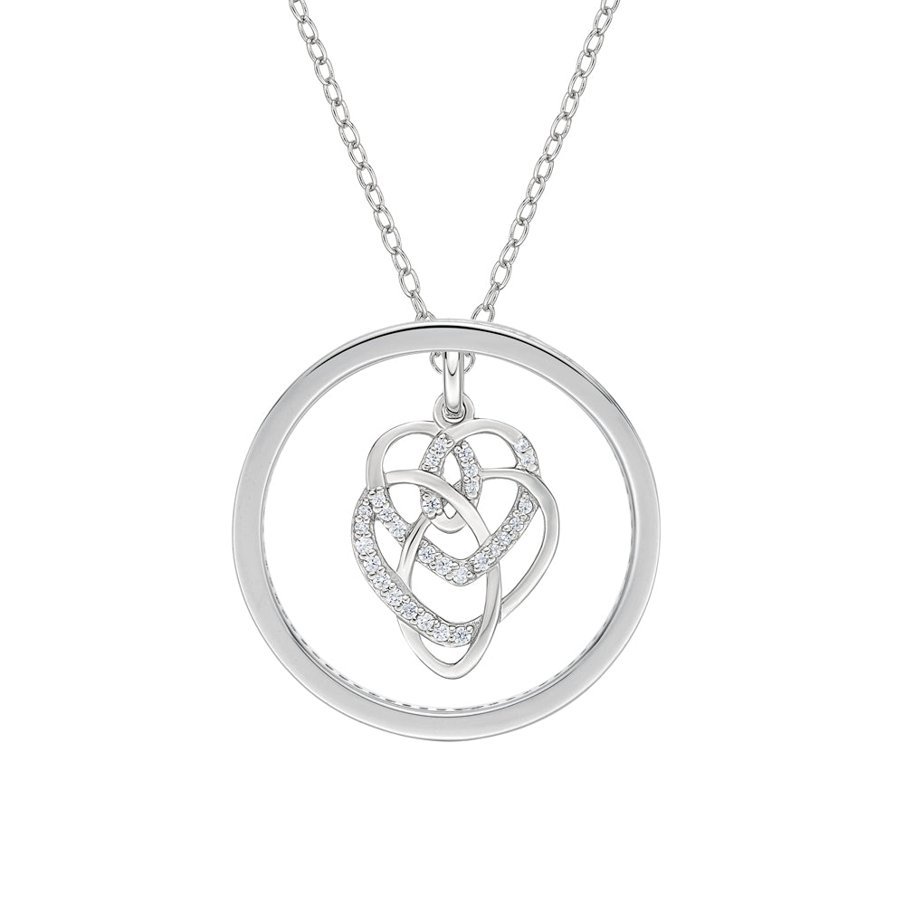 Circle Mother & Child Pendant Gift Set in White Gold