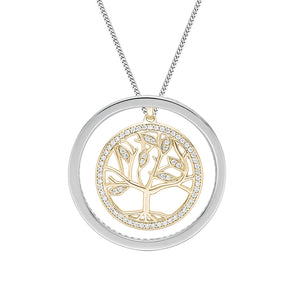 Circle Tree of Life Unique Edge Set Gift Set in White Gold w/ Yellow Gold