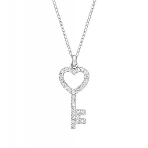 Key Pendant in White Gold
