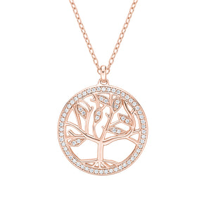 Circle Tree of Life Unique Edge Set Gift Set in White Gold w/ Rose Gold