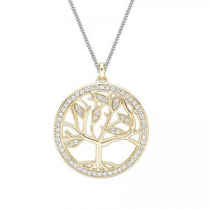 Circle Tree of Life Pendant Gift Set in Sterling Silver w/ Yellow Gold