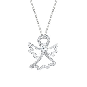 Angel Circle of Life Pendant Gift Set in White Gold