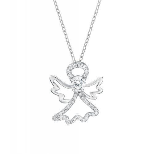 Guardian Angel Pendant in White Gold