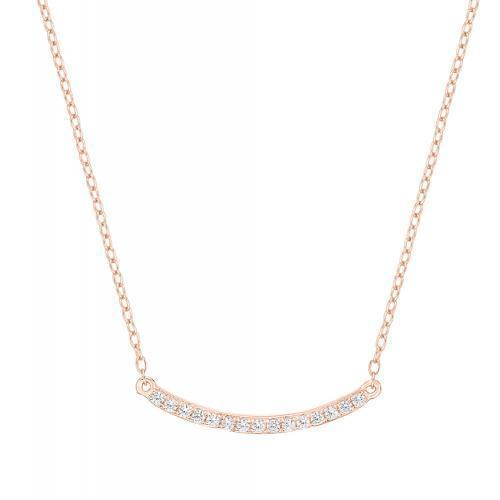 Minimal Curved Bar Necklace in Rose Gold