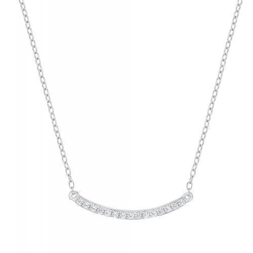 Minimal Curved Bar Necklace in White Gold