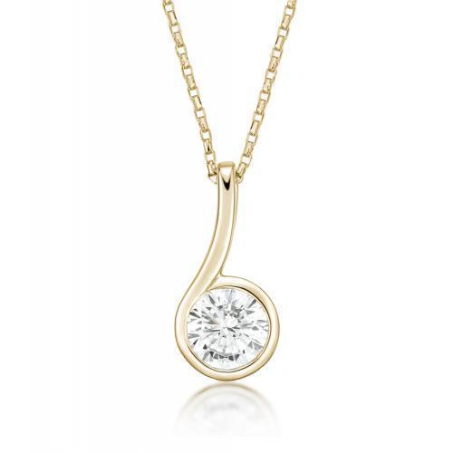 Contemporary Bezel Set Pendant in Yellow Gold