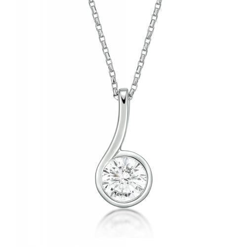 Contemporary Bezel Set Pendant in White Gold