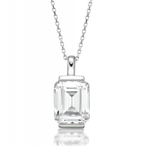 End Set Emerald Cut Pendant in White Gold