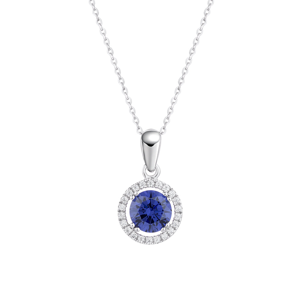 Round Brilliant Halo Pendant - Tanzanite Simulant Colour in White Gold