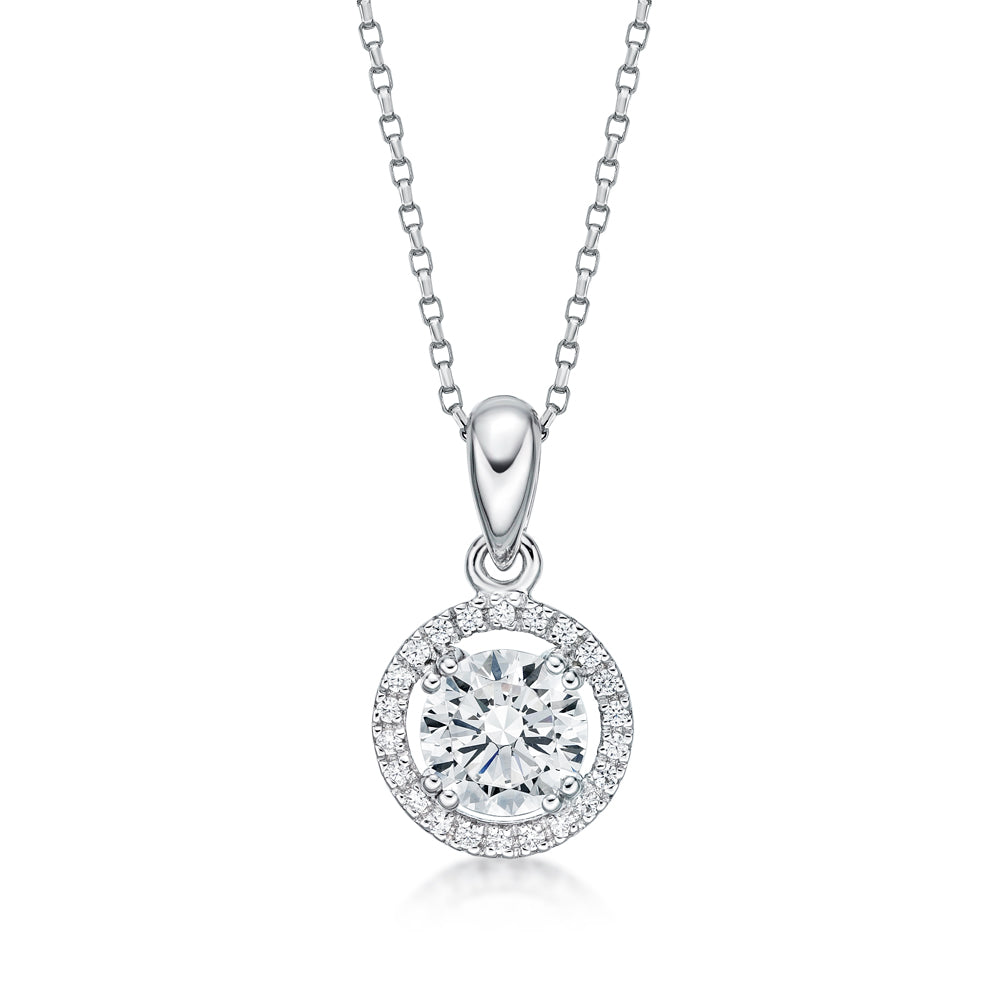 Round Brilliant Halo Pendant in White Gold