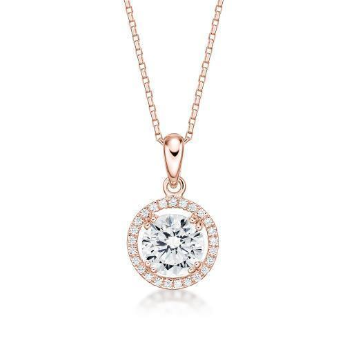 Large Round Brilliant Halo Pendant in Rose Gold