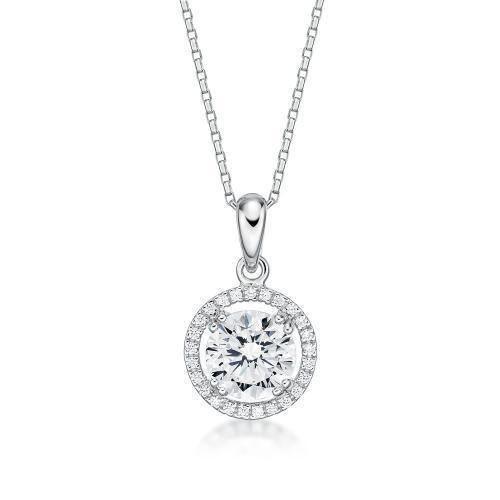 Large Round Brilliant Halo Pendant in White Gold