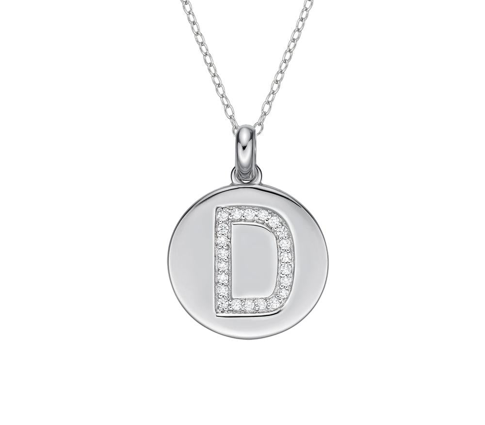 Disc Initial Pendant - D in Sterling Silver