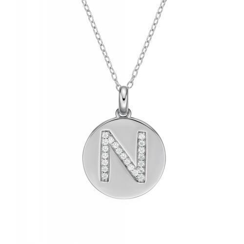 Disc Initial Pendant - N in Sterling Silver