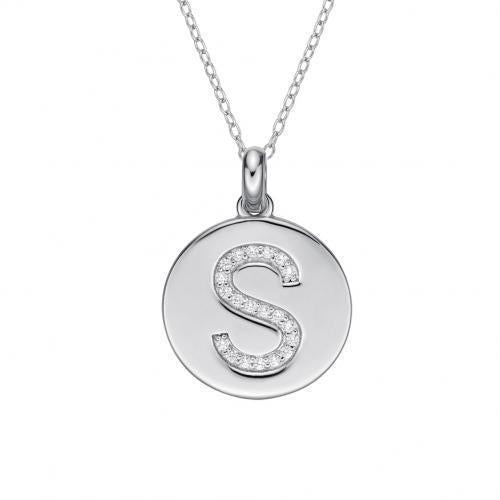 Disc Initial Pendant - S in Sterling Silver